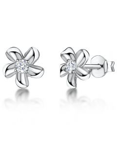 Jools by Jenny Brown Cubic Zirconia and Sterling Silver Flower Earrings