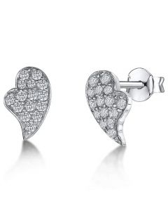 Jools Silver Stud Heart Earrings with Cubic Zirconia