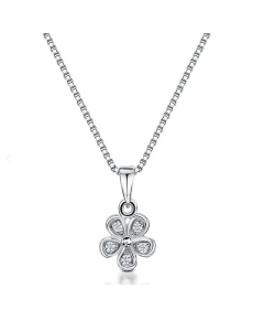 Jools By Jenny Brown Silver Cubic Zirconia Flower Necklace