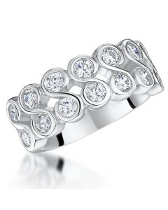 Jools by Jenny Brown Two Row  Cubic Zirconia Swirl Ring