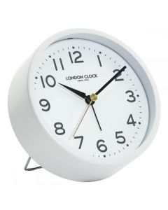 London Clock Hoxton White Alarm Clock