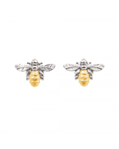 Lydia's Bees Silver Bee Earrings with Gold Plate