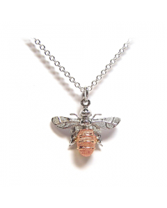 Lydia's Bees Silver and Rose Gold Large Bee Necklace