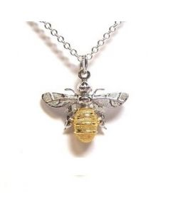 Lydia's Bees Silver and Gold Plate Bee Necklace