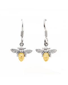 Lydia's Bees Silver and Gold Bee Drop Earrings