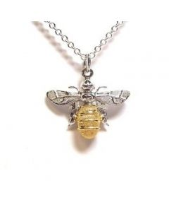 Lydia's Bees Silver and Gold Plate Minibee Necklace