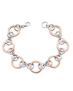 Elements Silver and Rose Gold Plate Open Link Bracelet