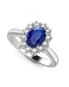 18ct White Gold 2.16ct Sapphire and Diamond Cluster Ring