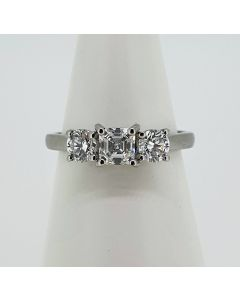 Pre-Owned Asher Cut Diamond and Platinum Three Stone Ring