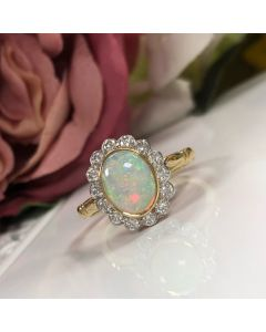 PreOwned Opal and Diamond 18ct Gold Cluster Ring
