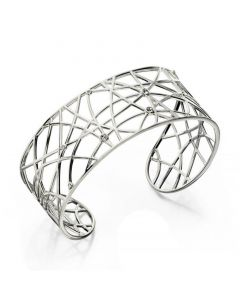 Open Work Silver Bangle