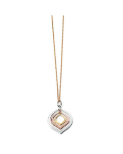 Elements Three Colour Gold Teardrop Necklace