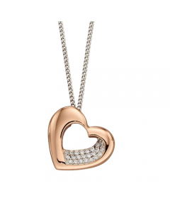 Fiorelli Heart Silver and Rose Gold Plate Necklace