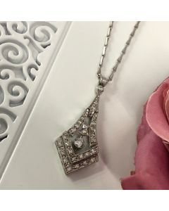 Pre-owned Art-Deco Diamond Cluster Necklace