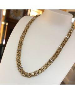 Pre-Owned 9ct gold Two Tone Flat Byzantine Link Necklace
