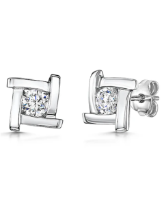 Jools by Jenny Brown Curved Cubic Zirconia Stud Earrings