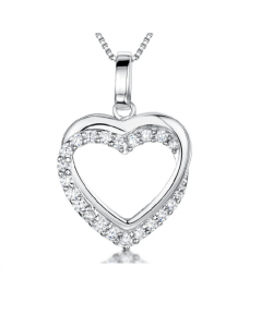 Jools By Jenny Brown Silver Double Open Heart Necklace