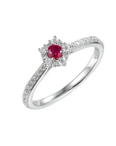 Amore Argento Silver Ruby Cluster Ring