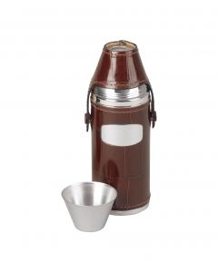Brown Leather Steel Hip Flask With Four Cups