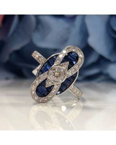 18ct White Gold Sapphire & Diamond Art Deco Style Ring