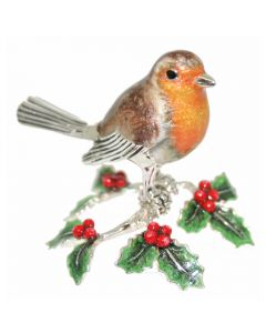 Saturno Animals Silver and Enamelled Robin on Holly
