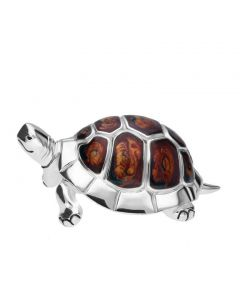 Saturno Large Silver and Enamel Tortoise figurine