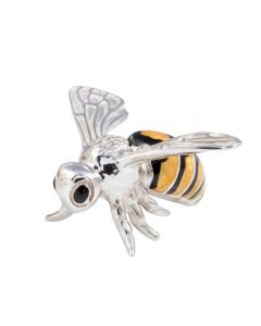 Saturno Animals Medium Silver and Enamel Bee figurine