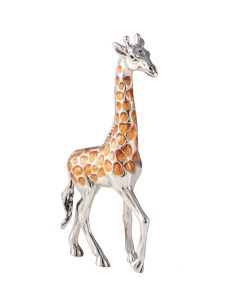 Saturno Animals Silver Giraffe Large Enamel Ornament
