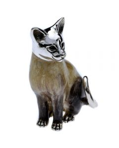 Saturno Animals Silver Siamese Cat Ornament Figurine