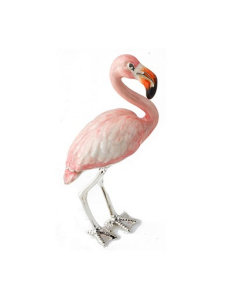 Saturno Silver Medium Pink Flamingo figurine