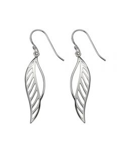 Sterling Silver Leaf Cut-Out Design Drop Earrings