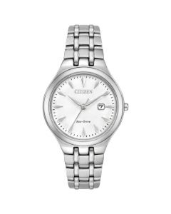 Citizen Eco-Drive Ladies White Clear Silhouette Watch