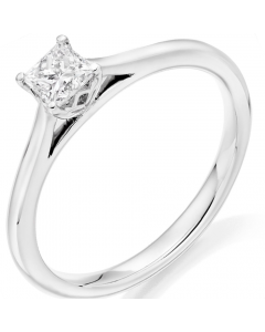 18ct White Gold 0.30ct Princess-Cut Diamond Solitaire Ring