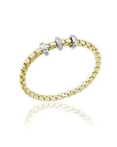 Chimento 18ct Gold Stretch Spring Medium Diamond Bracelet