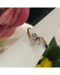 Pre-owned 9ct Gold Diamond 0.40ct Crossover Ring