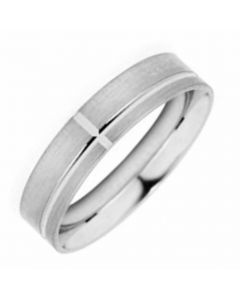 Palladium 5mm Gents Line Patterned Wedding Ring By Charles Green