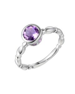 Amore Sterling Silver & Amethyst 'Timeless' Ring