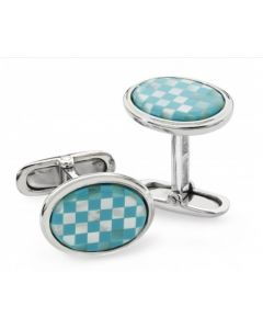 Sterling Silver Turquoise & Mother Of Pearl Cuff Links
