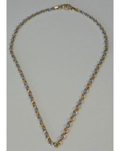 9ct Yellow & White Gold Alternating Double Link Necklet