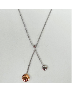 9ct Yellow & White Gold Polished Bead Necklet