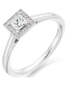 18ct White Gold 0.35ct Diamond Halo Cluster Ring