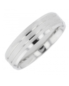 Palladium 6mm Lined Wedding Ring By Charles Green
