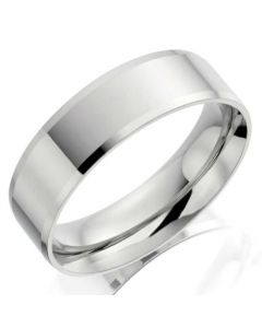 9ct White Gold 5mm Flat Gents Wedding Ring By Charles Green