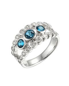 Amore Sterling Silver & Blue Topaz 'Deep Blue Sea' Ring