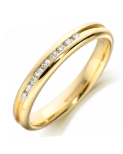 18ct Yellow Gold Diamond Set Grooved Wedding Ring By Charles Green