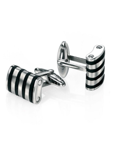 Fred Bennett Brushed Stainless Steel Striped Rubber Cufflinks