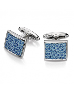 Fred Bennett Square Blue Leather Textured Cufflinks