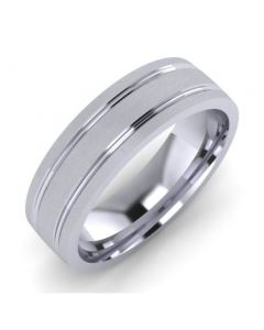 Palladium Gents 6mm Flat Court Groove Wedding Ring By Charles Green