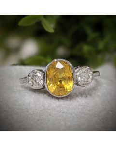 Pre-Owned Platinum Yellow Sapphire and Diamond Ring
