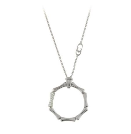 Chimento 18ct White Gold Diamond Bamboo Necklace